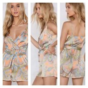 Nasty Gal Pants & Jumpsuits - Nasty Gal The Price Paisley Satin Romper NEW